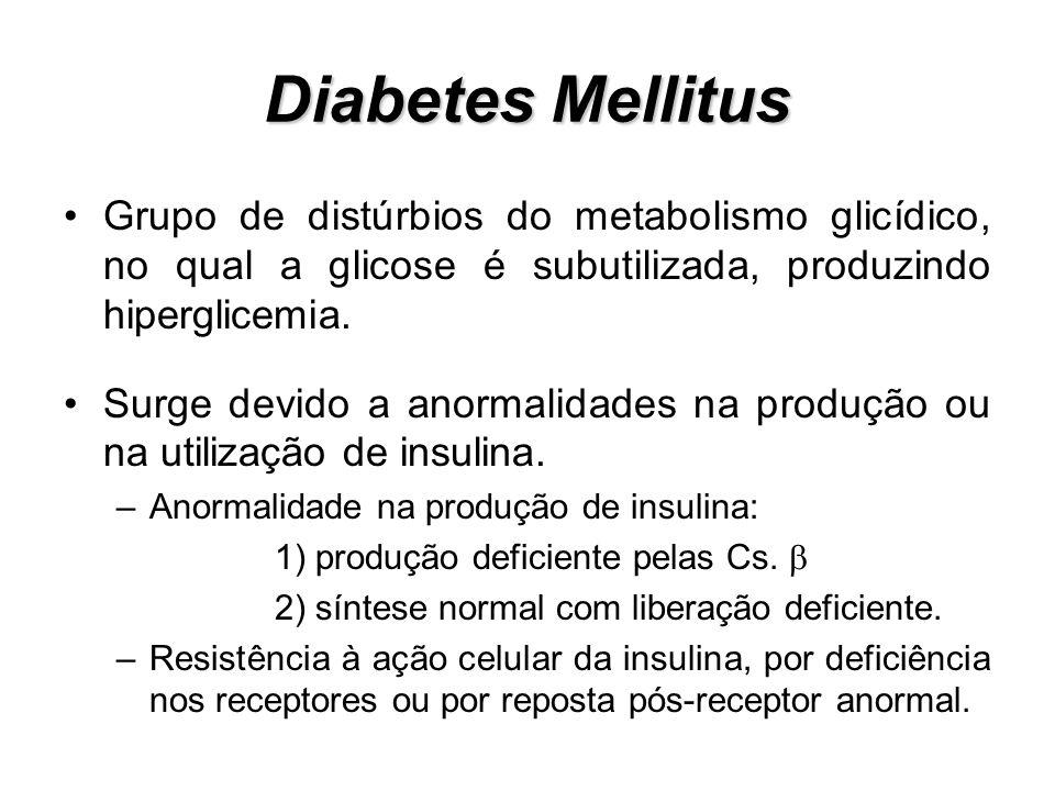 Diabetes Mellitus Grupo de distúrbios do metabolismo glicídico, no qual a glicose é subutilizada, produzindo hiperglicemia. Surge devido a anormalidad