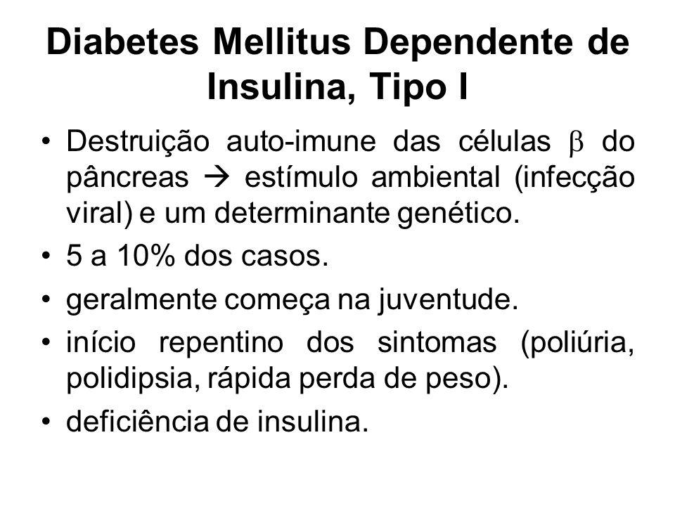 Diabetes Mellitus Dependente de Insulina, Tipo I Destruição auto-imune das células  do pâncreas  estímulo ambiental (infecção viral) e um determinan