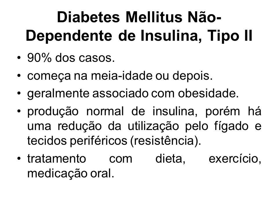 Diabetes Mellitus Não- Dependente de Insulina, Tipo II 90% dos casos. começa na meia-idade ou depois. geralmente associado com obesidade. produção nor