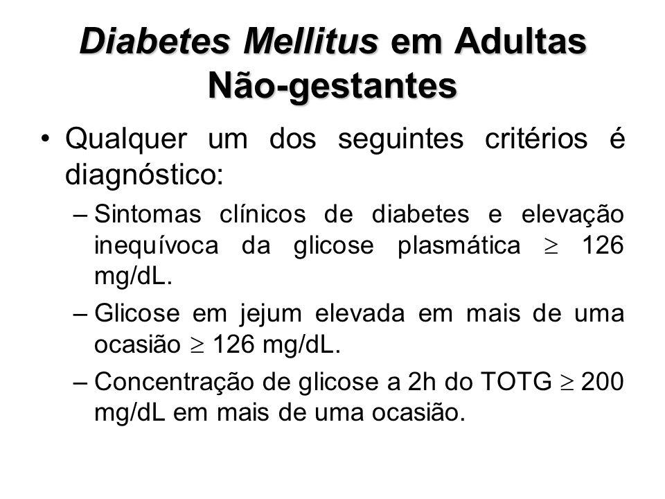 Diabetes Mellitus em Adultas Não-gestantes Qualquer um dos seguintes critérios é diagnóstico: –Sintomas clínicos de diabetes e elevação inequívoca da