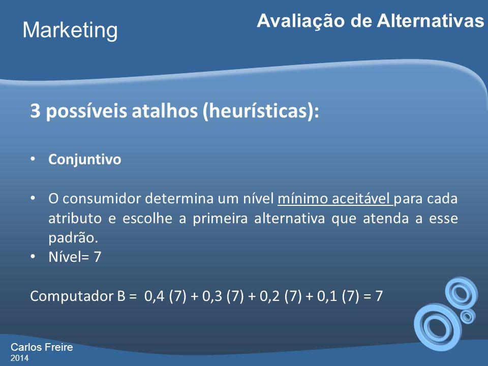 Carlos Freire 2014 Marketing Avaliação de Alternativas 3 possíveis atalhos (heurísticas): Conjuntivo O consumidor determina um nível mínimo aceitável para cada atributo e escolhe a primeira alternativa que atenda a esse padrão.