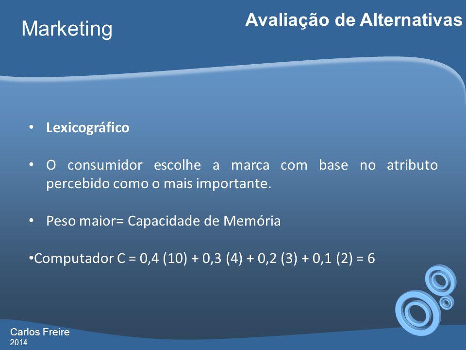 Carlos Freire 2014 Marketing Avaliação de Alternativas Lexicográfico O consumidor escolhe a marca com base no atributo percebido como o mais importante.