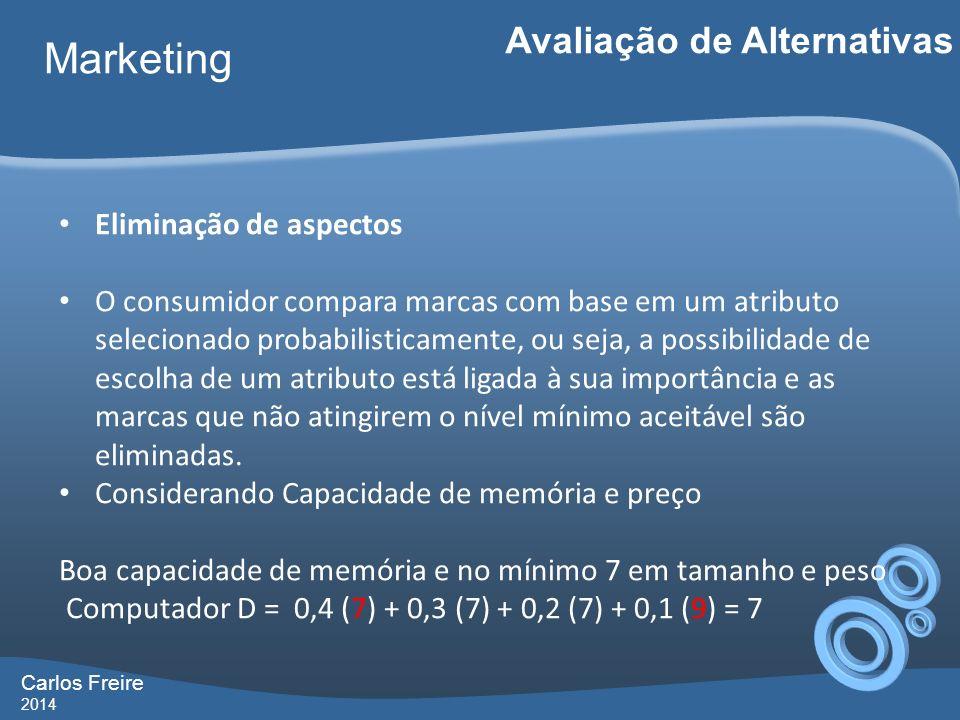Carlos Freire 2014 Marketing Avaliação de Alternativas Eliminação de aspectos O consumidor compara marcas com base em um atributo selecionado probabilisticamente, ou seja, a possibilidade de escolha de um atributo está ligada à sua importância e as marcas que não atingirem o nível mínimo aceitável são eliminadas.