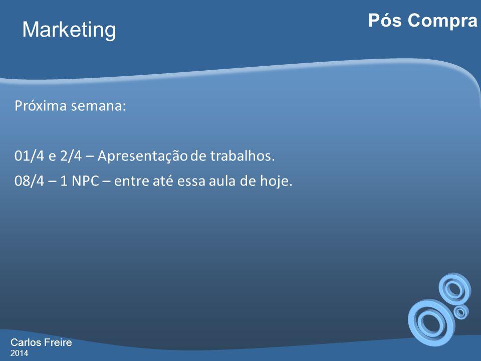 Carlos Freire 2014 Marketing Pós Compra Próxima semana: 01/4 e 2/4 – Apresentação de trabalhos.