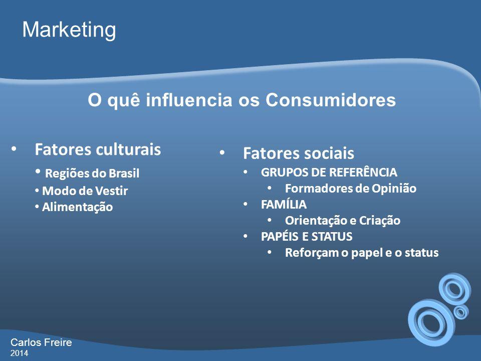 Carlos Freire 2014 Marketing O quê influencia os Consumidores Fatores culturais Regiões do Brasil Modo de Vestir Alimentação Fatores sociais GRUPOS DE REFERÊNCIA Formadores de Opinião FAMÍLIA Orientação e Criação PAPÉIS E STATUS Reforçam o papel e o status