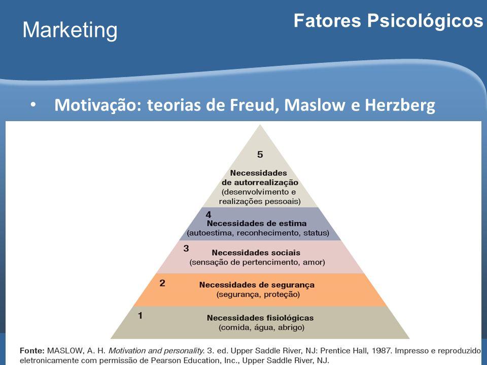 Carlos Freire 2014 Marketing Fatores Psicológicos Motivação: teorias de Freud, Maslow e Herzberg