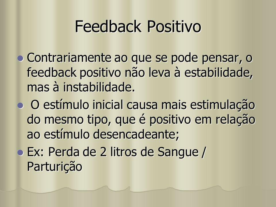 Feedback Positivo Contrariamente ao que se pode pensar, o feedback positivo não leva à estabilidade, mas à instabilidade. Contrariamente ao que se pod