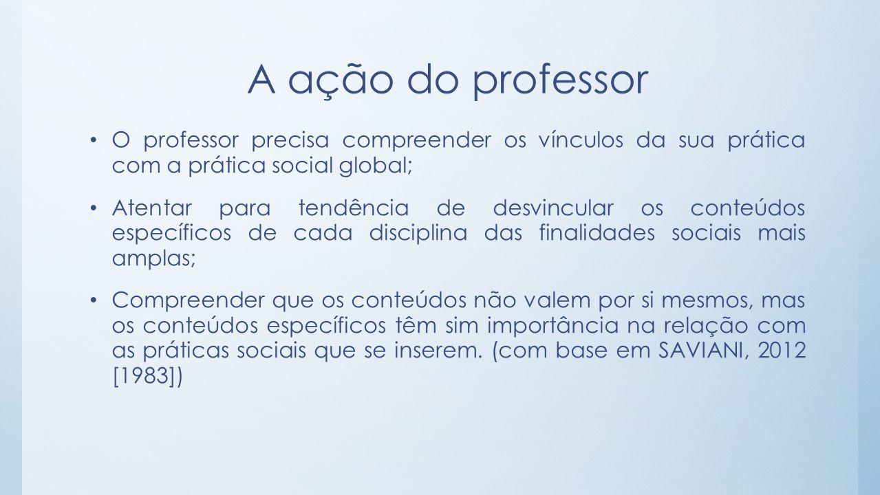 A ação do professor O professor precisa compreender os vínculos da sua prática com a prática social global; Atentar para tendência de desvincular os c