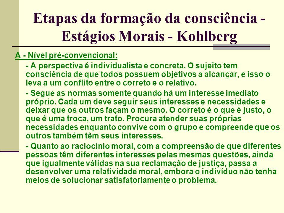 Etapas da formação da consciência - Estágios Morais - Kohlberg A - Nível pré-convencional: - A perspectiva é individualista e concreta.