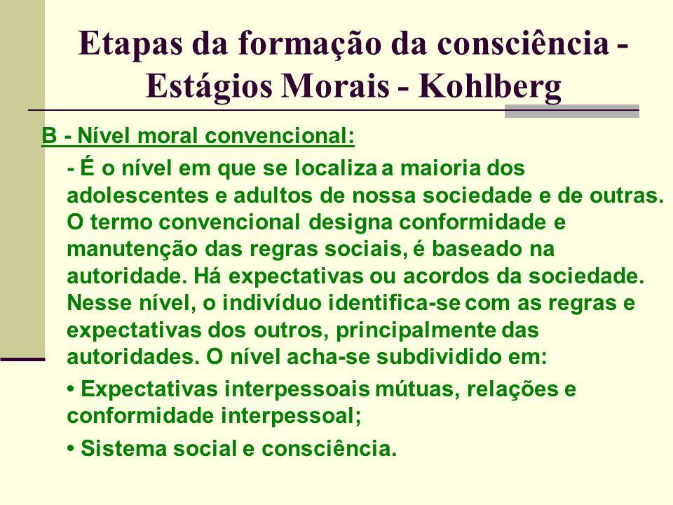 Etapas da formação da consciência - Estágios Morais - Kohlberg B - Nível moral convencional: - É o nível em que se localiza a maioria dos adolescentes e adultos de nossa sociedade e de outras.