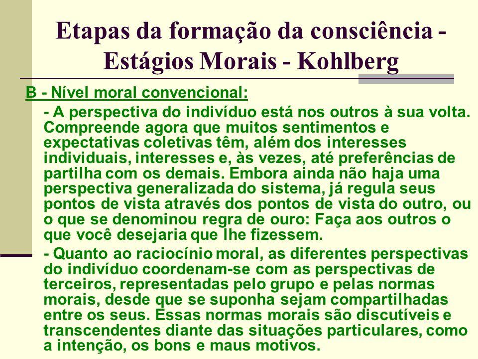 Etapas da formação da consciência - Estágios Morais - Kohlberg B - Nível moral convencional: - A perspectiva do indivíduo está nos outros à sua volta.