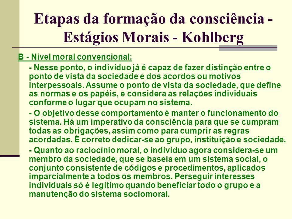 Etapas da formação da consciência - Estágios Morais - Kohlberg B - Nível moral convencional: - Nesse ponto, o indivíduo já é capaz de fazer distinção entre o ponto de vista da sociedade e dos acordos ou motivos interpessoais.