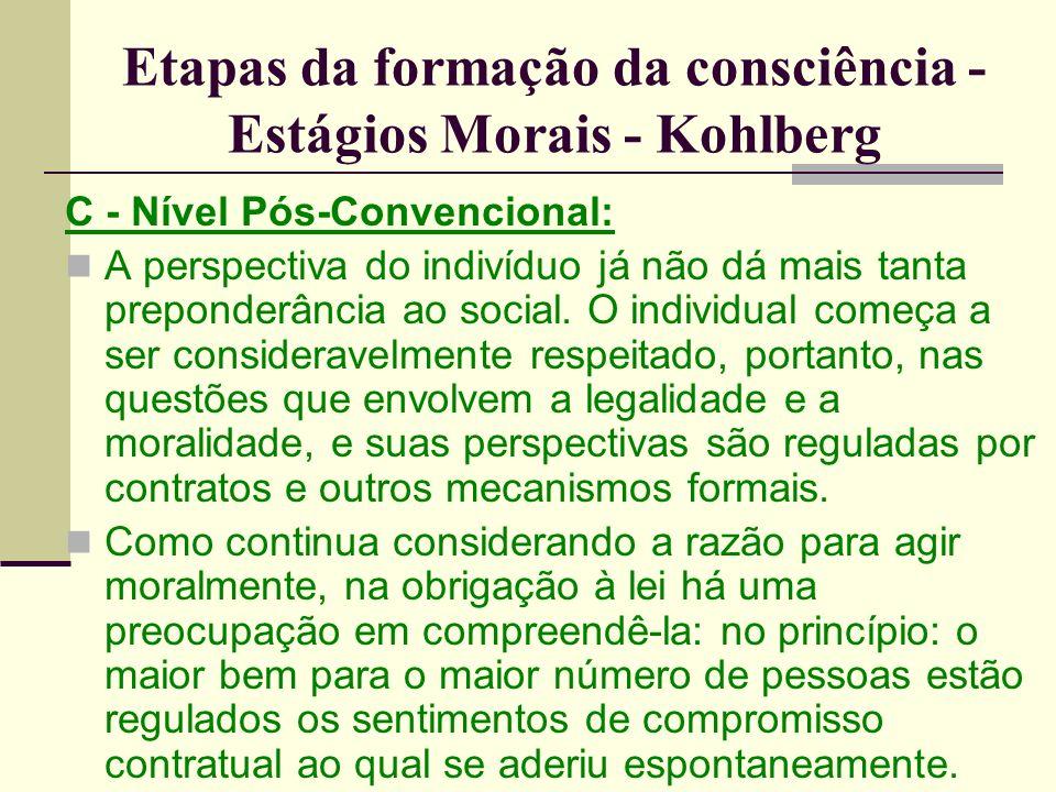 Etapas da formação da consciência - Estágios Morais - Kohlberg C - Nível Pós-Convencional: A perspectiva do indivíduo já não dá mais tanta preponderância ao social.