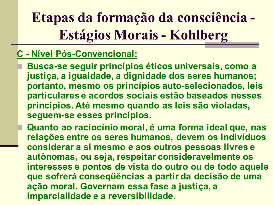 Etapas da formação da consciência - Estágios Morais - Kohlberg C - Nível Pós-Convencional: Busca-se seguir princípios éticos universais, como a justiça, a igualdade, a dignidade dos seres humanos; portanto, mesmo os princípios auto-selecionados, leis particulares e acordos sociais estão baseados nesses princípios.