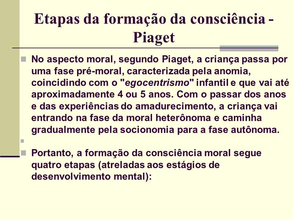 Etapas da formação da consciência - Piaget No aspecto moral, segundo Piaget, a criança passa por uma fase pré-moral, caracterizada pela anomia, coincidindo com o egocentrismo infantil e que vai até aproximadamente 4 ou 5 anos.
