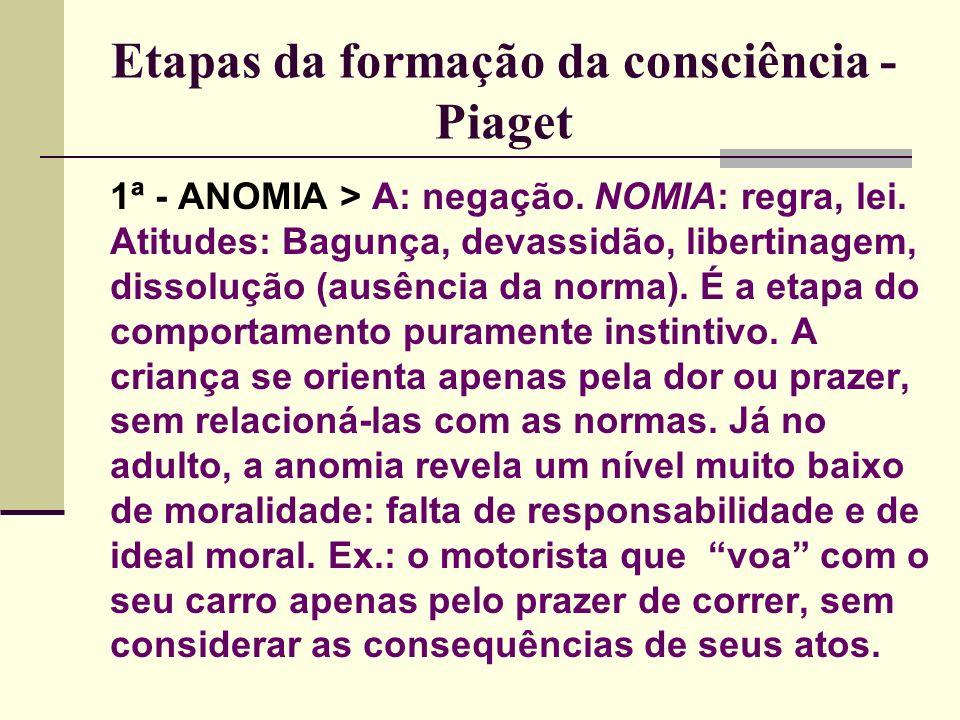 Etapas da formação da consciência - Piaget 1ª - ANOMIA > A: negação.