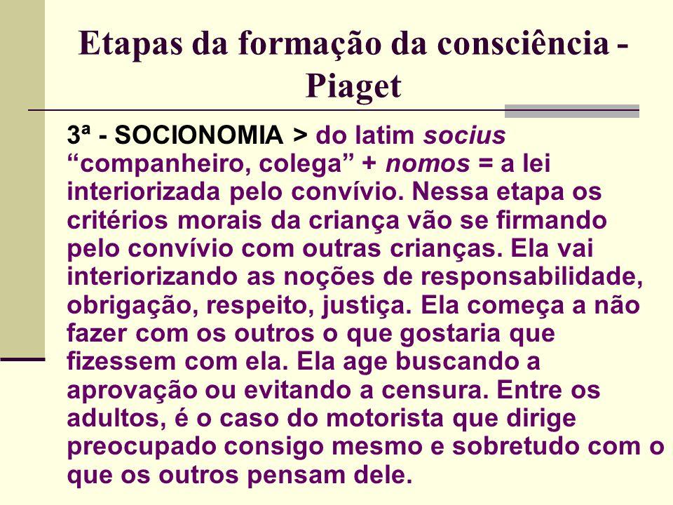 Etapas da formação da consciência - Piaget 3ª - SOCIONOMIA > do latim socius companheiro, colega + nomos = a lei interiorizada pelo convívio.
