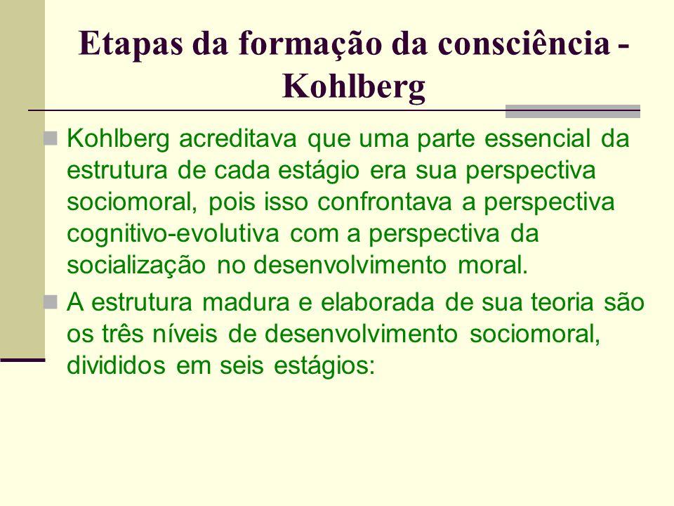 Etapas da formação da consciência - Kohlberg Kohlberg acreditava que uma parte essencial da estrutura de cada estágio era sua perspectiva sociomoral, pois isso confrontava a perspectiva cognitivo-evolutiva com a perspectiva da socialização no desenvolvimento moral.