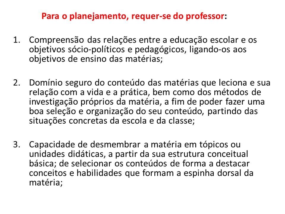 Para o planejamento, requer-se do professor: 1.Compreensão das relações entre a educação escolar e os objetivos sócio-políticos e pedagógicos, ligando