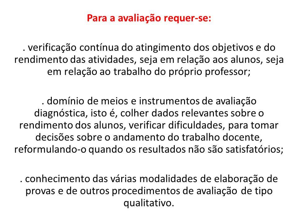 Para a avaliação requer-se:. verificação contínua do atingimento dos objetivos e do rendimento das atividades, seja em relação aos alunos, seja em rel