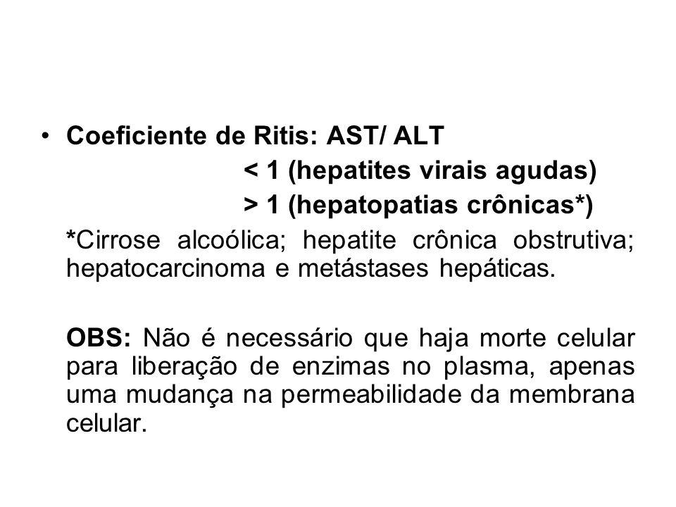 Coeficiente de Ritis: AST/ ALT < 1 (hepatites virais agudas) > 1 (hepatopatias crônicas*) *Cirrose alcoólica; hepatite crônica obstrutiva; hepatocarci