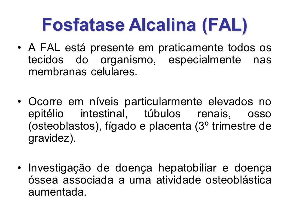 Fosfatase Alcalina (FAL) A FAL está presente em praticamente todos os tecidos do organismo, especialmente nas membranas celulares. Ocorre em níveis pa