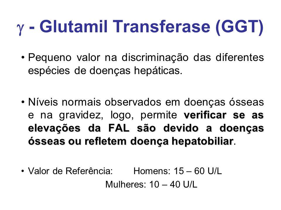  - Glutamil Transferase (GGT) Pequeno valor na discriminação das diferentes espécies de doenças hepáticas. verificar se as elevações da FAL são devid