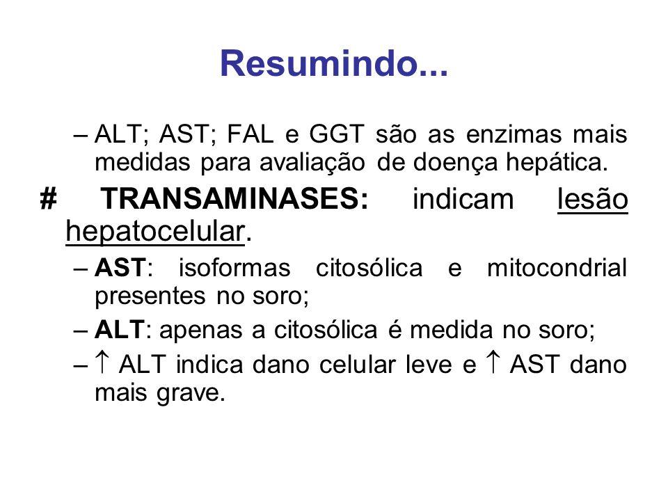 Resumindo... –ALT; AST; FAL e GGT são as enzimas mais medidas para avaliação de doença hepática. # TRANSAMINASES: indicam lesão hepatocelular. –AST: i