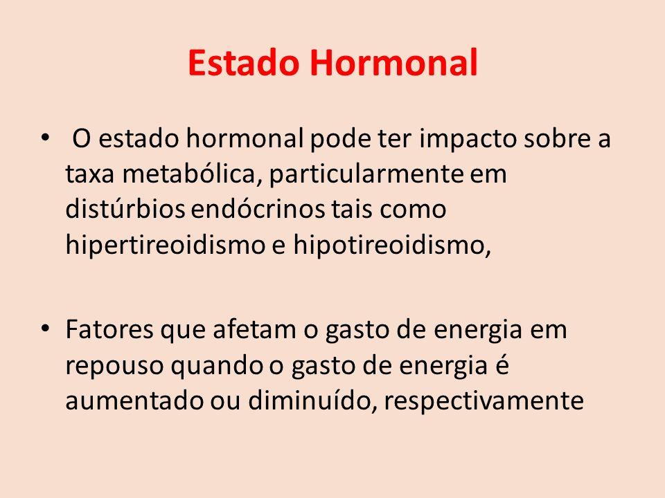 Estado Hormonal O estado hormonal pode ter impacto sobre a taxa metabólica, particularmente em distúrbios endócrinos tais como hipertireoidismo e hipotireoidismo, Fatores que afetam o gasto de energia em repouso quando o gasto de energia é aumentado ou diminuído, respectivamente
