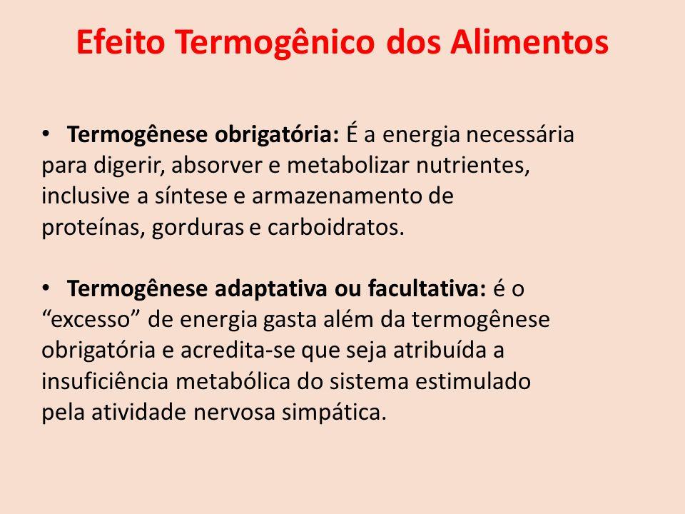 Efeito Termogênico dos Alimentos Termogênese obrigatória: É a energia necessária para digerir, absorver e metabolizar nutrientes, inclusive a síntese e armazenamento de proteínas, gorduras e carboidratos.