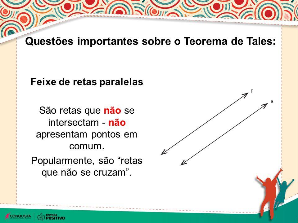 Feixe de retas paralelas São retas que não se intersectam - não apresentam pontos em comum.
