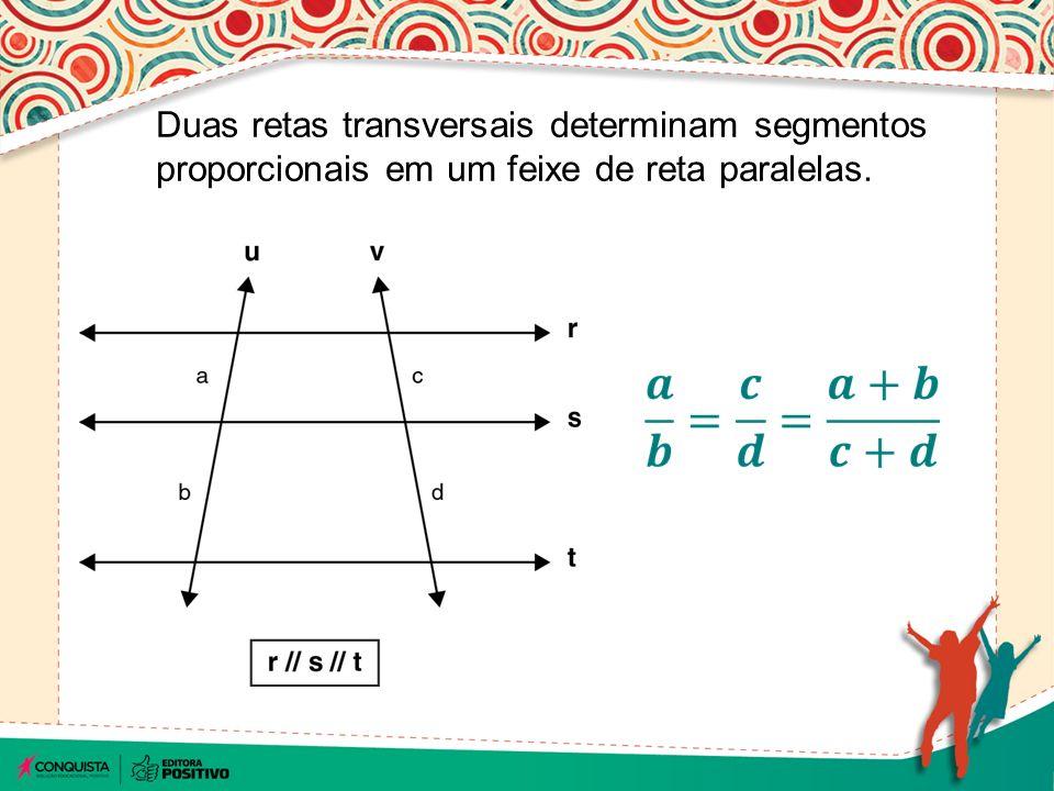 Sabendo-se que: r // s // t // u, determine a proporção entre os segmentos abaixo.