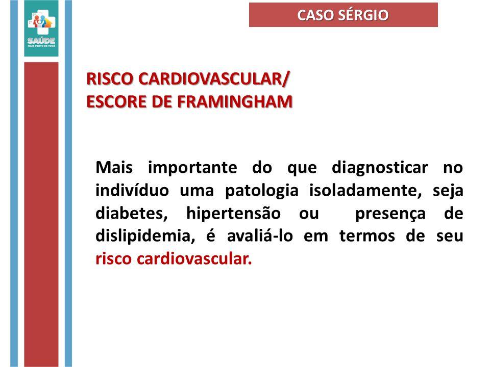 Alguns fatores de Risco Cardiovascular Hipertensão Obesidade Diabetes Mellitus SedentarismoTabagismoEstresse CASO SÉRGIO