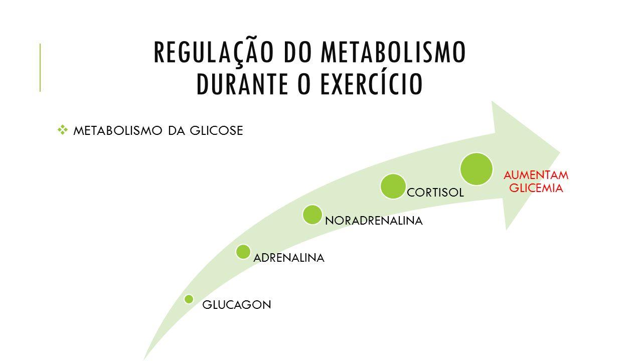 REGULAÇÃO DO METABOLISMO DURANTE O EXERCÍCIO  METABOLISMO DA GLICOSE GLUCAGON ADRENALINA NORADRENALINA CORTISOL AUMENTAM GLICEMIA
