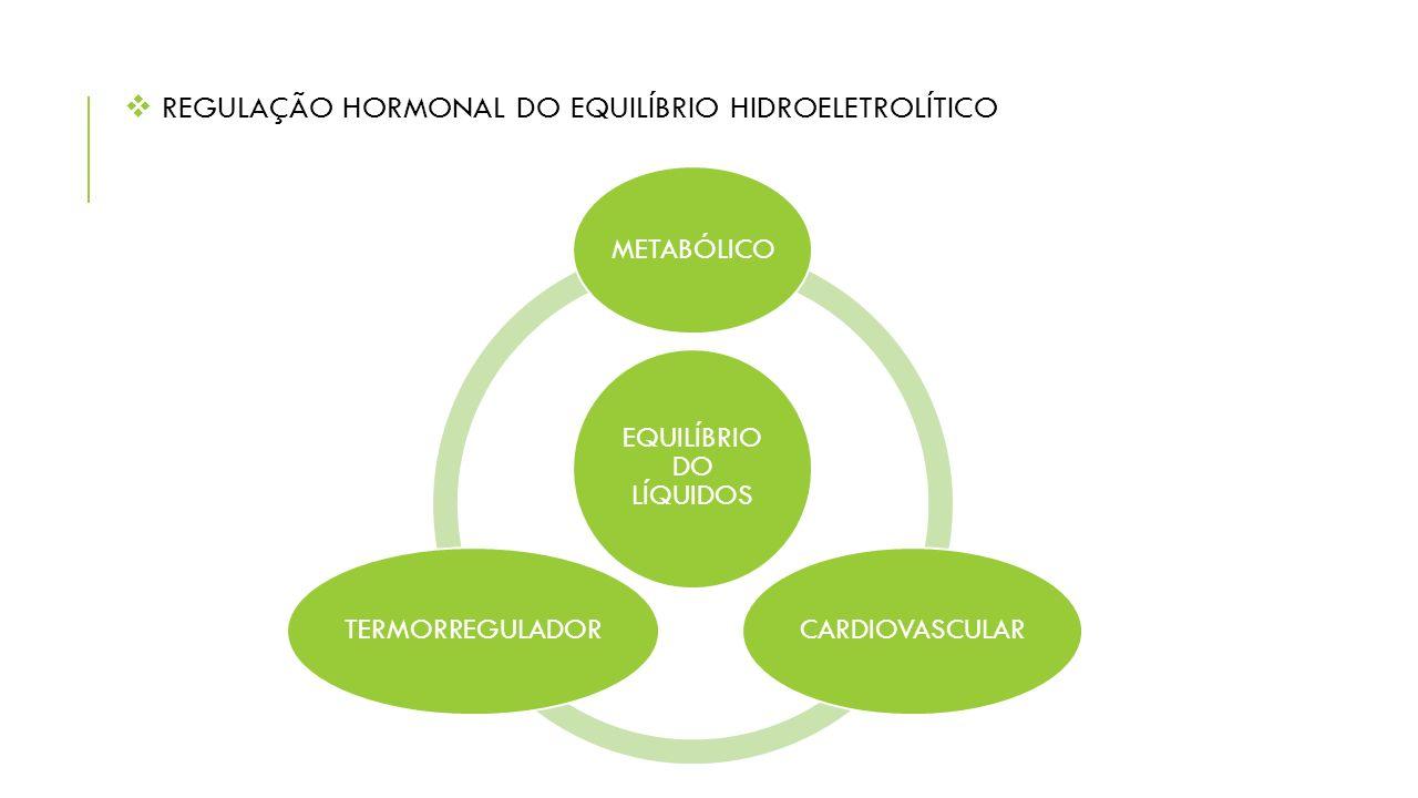  REGULAÇÃO HORMONAL DO EQUILÍBRIO HIDROELETROLÍTICO EQUILÍBRIO DO LÍQUIDOS METABÓLICOCARDIOVASCULARTERMORREGULADOR