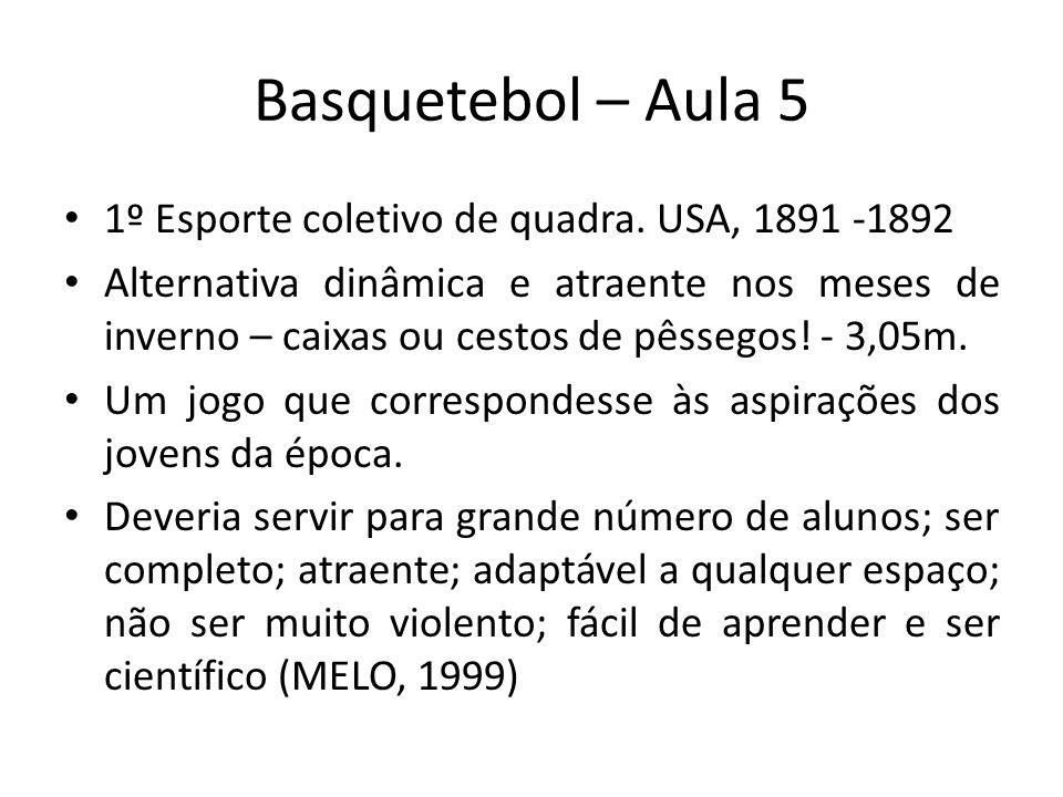 Basquetebol – Aula 5 1º Esporte coletivo de quadra.