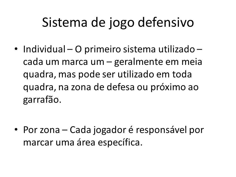 Sistema de jogo defensivo Individual – O primeiro sistema utilizado – cada um marca um – geralmente em meia quadra, mas pode ser utilizado em toda quadra, na zona de defesa ou próximo ao garrafão.