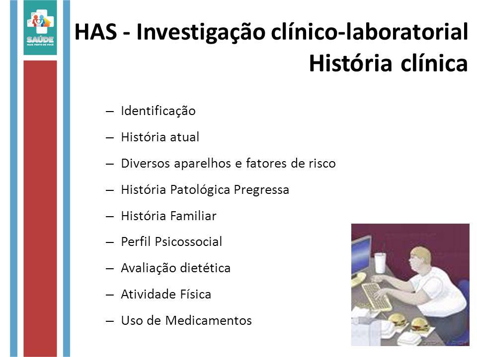 HAS - Investigação clínico-laboratorial História clínica – Identificação – História atual – Diversos aparelhos e fatores de risco – História Patológic