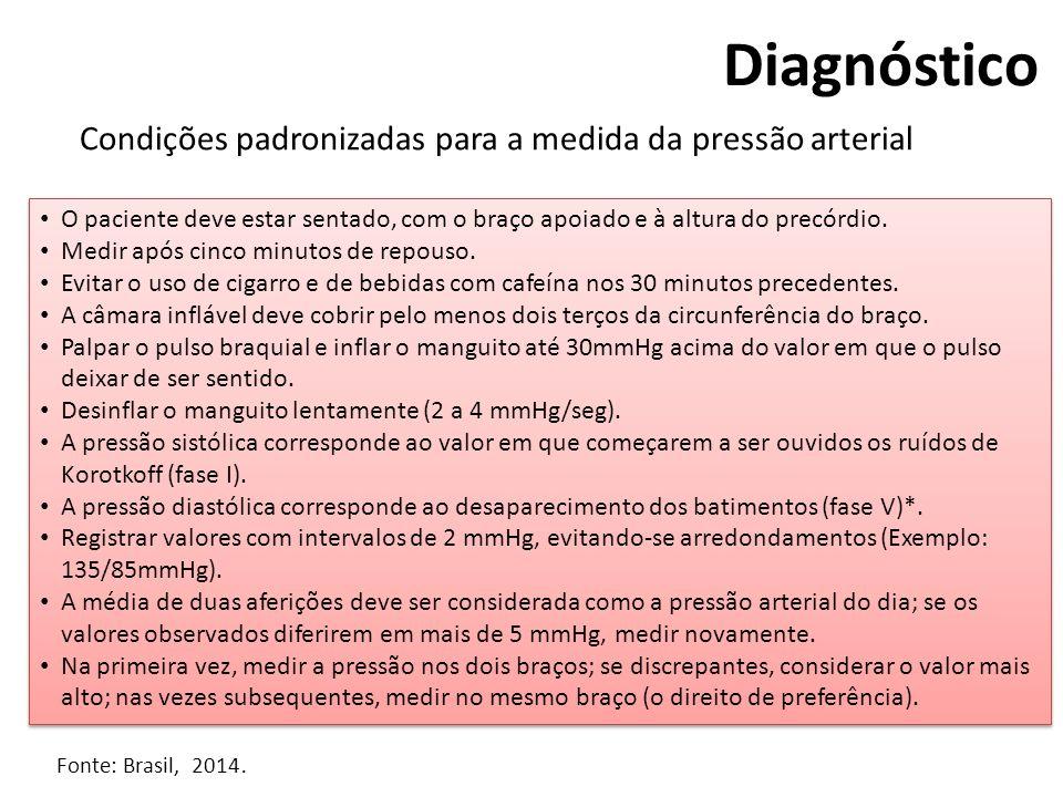 Diagnóstico Condições padronizadas para a medida da pressão arterial O paciente deve estar sentado, com o braço apoiado e à altura do precórdio. Medir