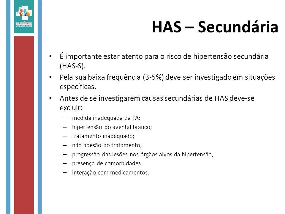 É importante estar atento para o risco de hipertensão secundária (HAS-S). Pela sua baixa frequência (3-5%) deve ser investigado em situações específic