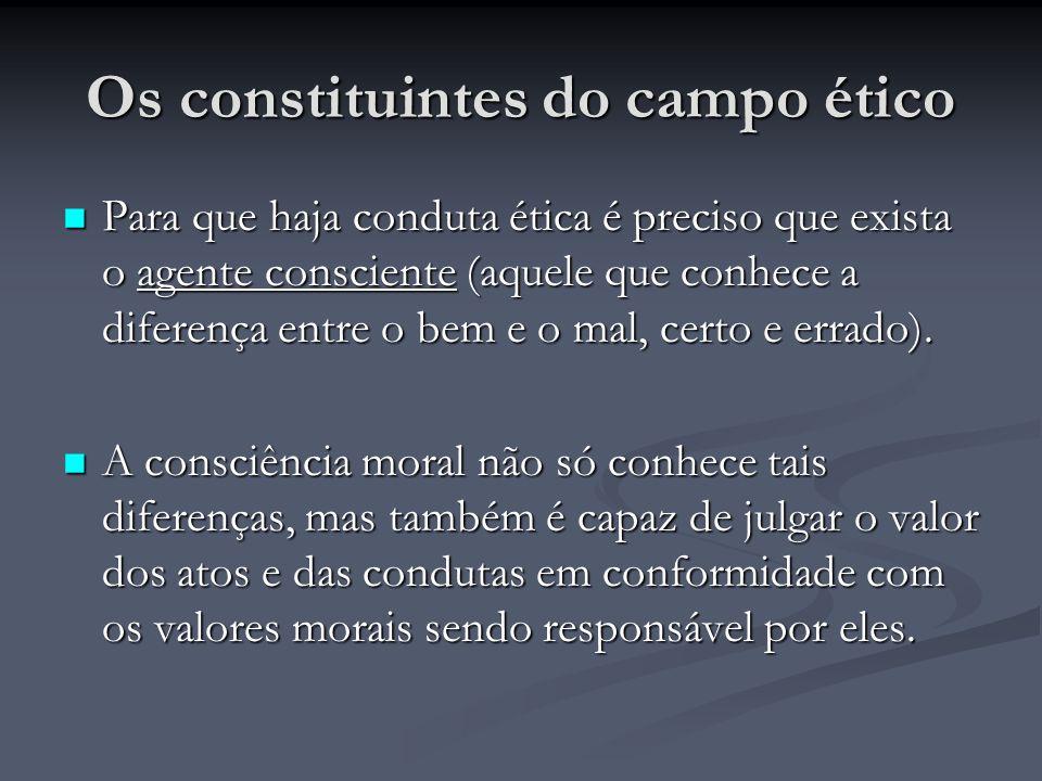 Os constituintes do campo ético Para que haja conduta ética é preciso que exista o agente consciente (aquele que conhece a diferença entre o bem e o m