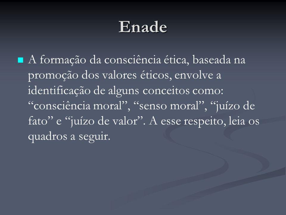 Enade A formação da consciência ética, baseada na promoção dos valores éticos, envolve a identificação de alguns conceitos como: consciência moral , senso moral , juízo de fato e juízo de valor .