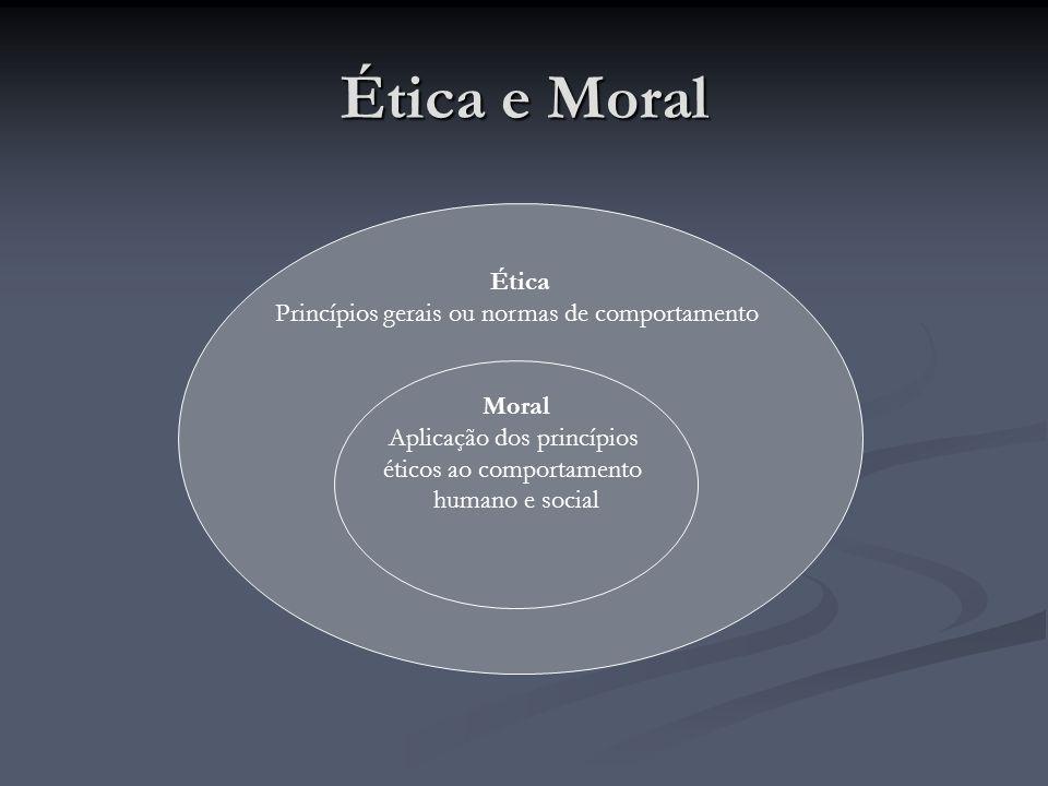 Ética e Moral Ética Princípios gerais ou normas de comportamento Moral Aplicação dos princípios éticos ao comportamento humano e social