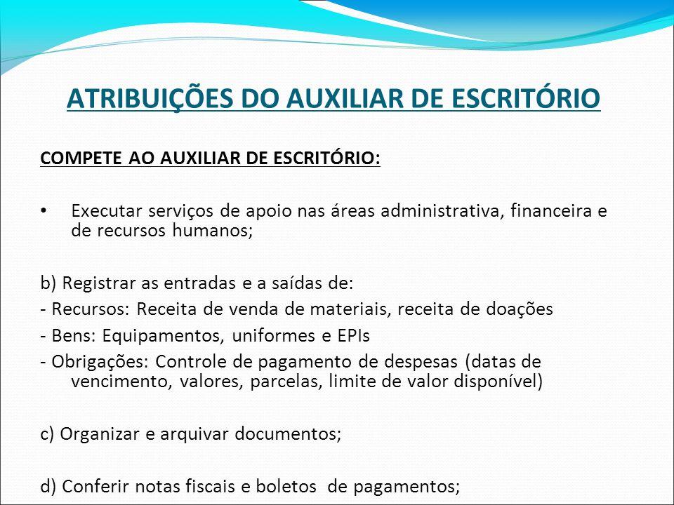 ATRIBUIÇÕES DO AUXILIAR DE ESCRITÓRIO COMPETE AO AUXILIAR DE ESCRITÓRIO: Executar serviços de apoio nas áreas administrativa, financeira e de recursos
