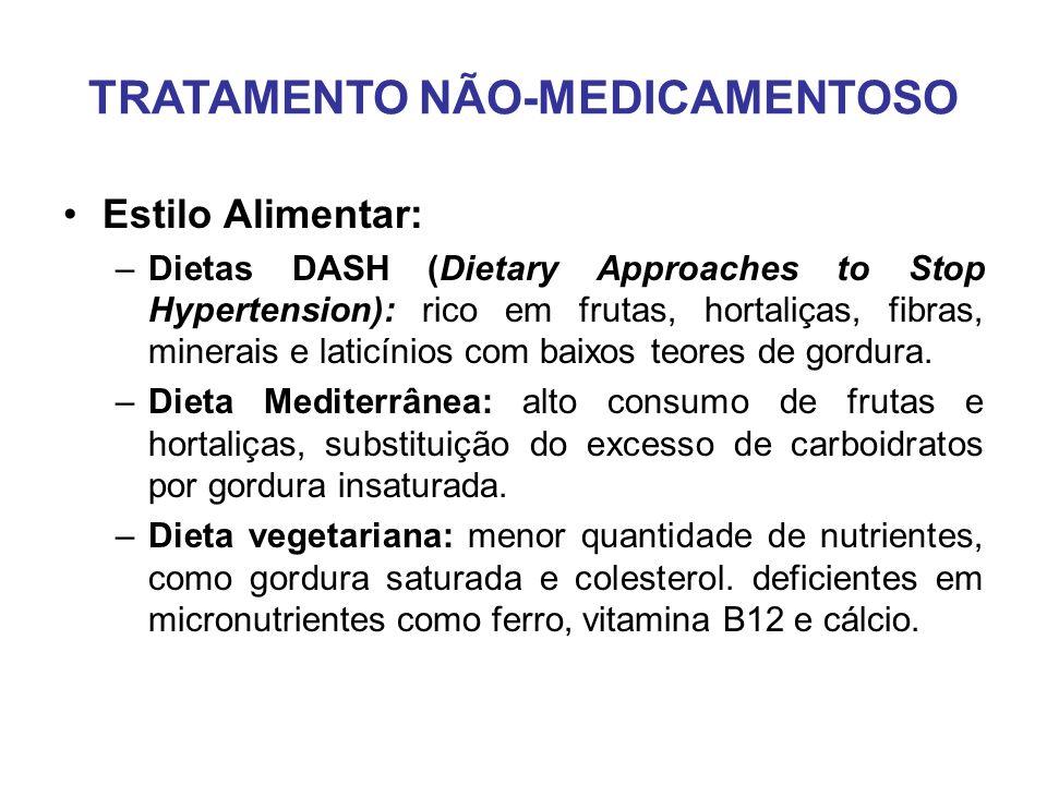 TRATAMENTO NÃO-MEDICAMENTOSO Estilo Alimentar: –Dietas DASH (Dietary Approaches to Stop Hypertension): rico em frutas, hortaliças, fibras, minerais e laticínios com baixos teores de gordura.