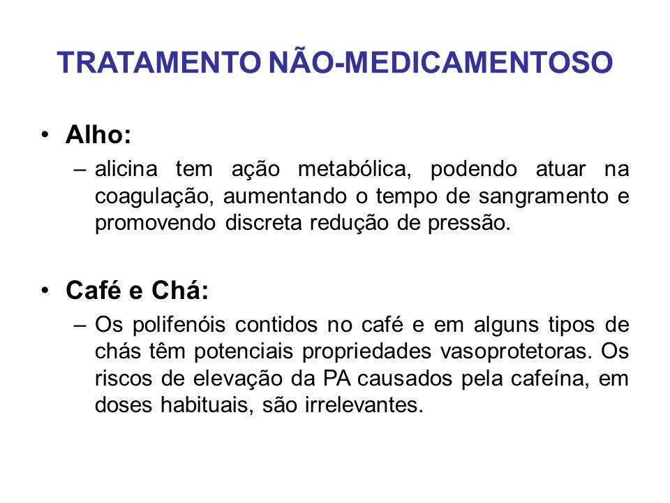 TRATAMENTO NÃO-MEDICAMENTOSO Alho: –alicina tem ação metabólica, podendo atuar na coagulação, aumentando o tempo de sangramento e promovendo discreta redução de pressão.