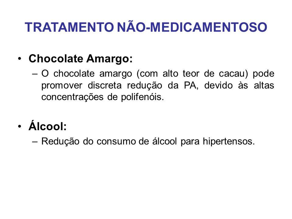 TRATAMENTO NÃO-MEDICAMENTOSO Chocolate Amargo: –O chocolate amargo (com alto teor de cacau) pode promover discreta redução da PA, devido às altas concentrações de polifenóis.