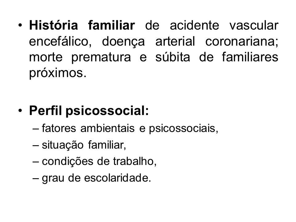 História familiar de acidente vascular encefálico, doença arterial coronariana; morte prematura e súbita de familiares próximos.