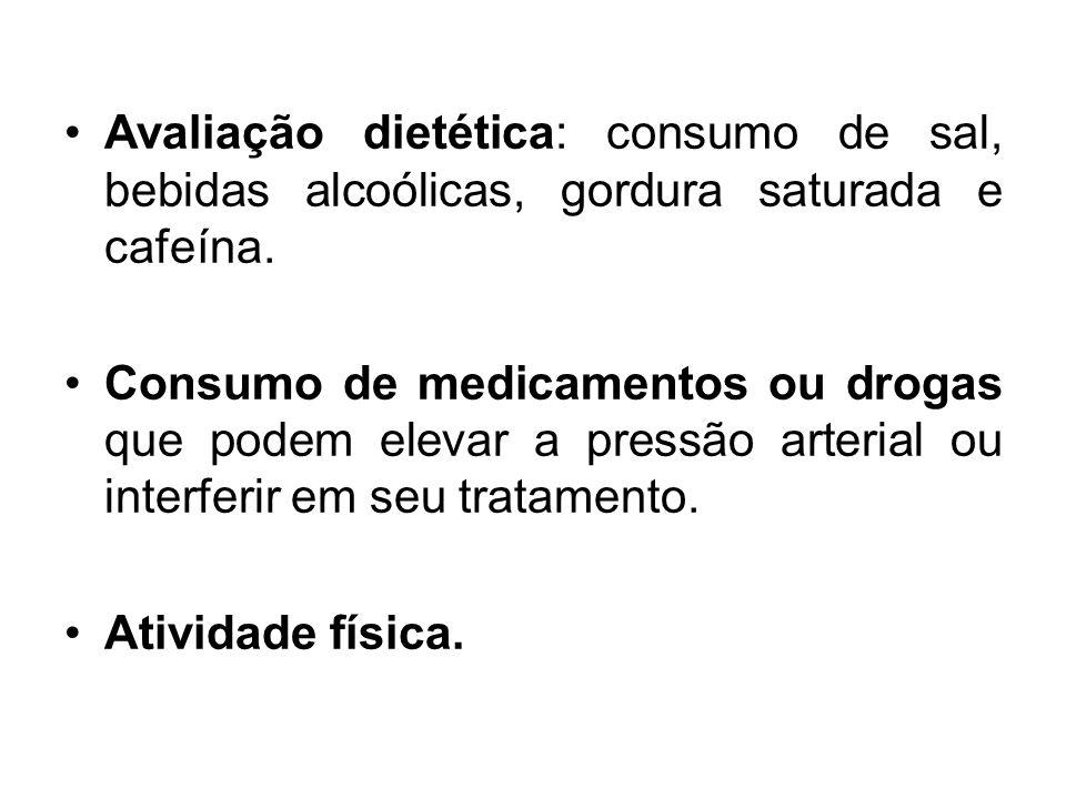 Avaliação dietética: consumo de sal, bebidas alcoólicas, gordura saturada e cafeína.