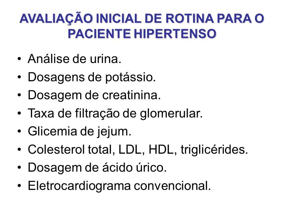 AVALIAÇÃO INICIAL DE ROTINA PARA O PACIENTE HIPERTENSO Análise de urina.
